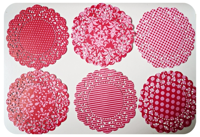 Red color doily paper