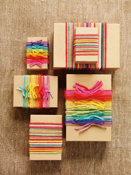 packaging with colorful string