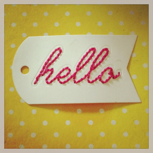 Hello Stitched Tag