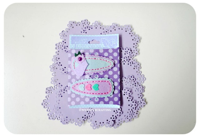 Purple barrettes felt clip