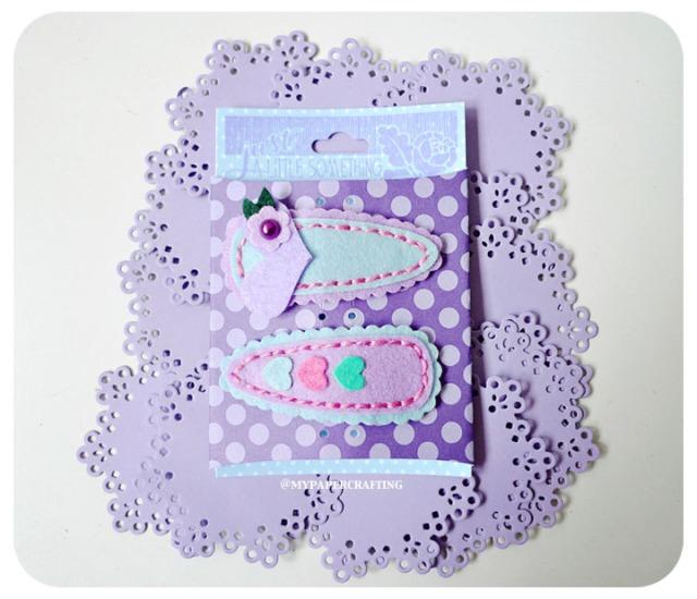 Purple barrettes felt clip