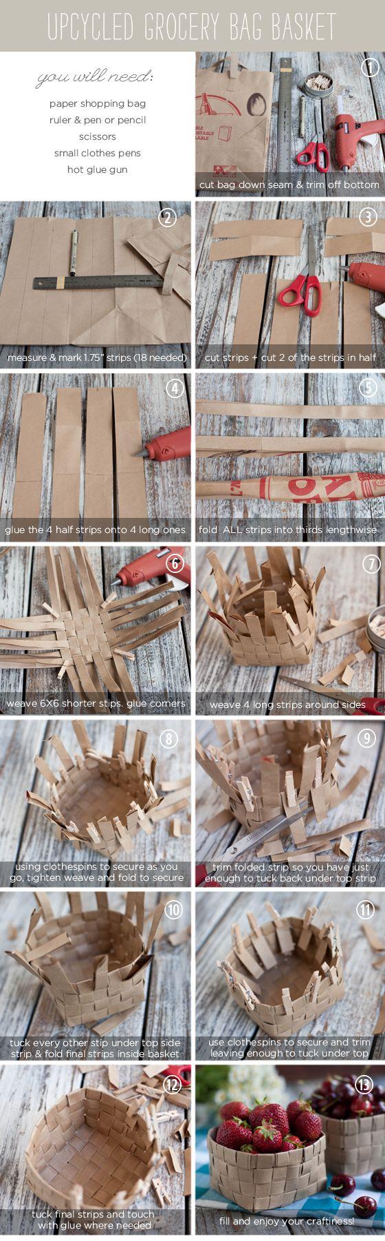 DIY weave basket using grocery paper bag