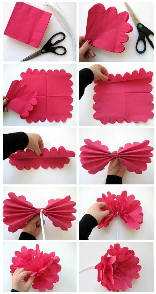 Как можно сделать из бумажных салфеток цветы