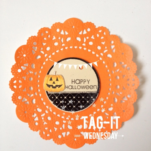 Halloween Tag & orange doilies