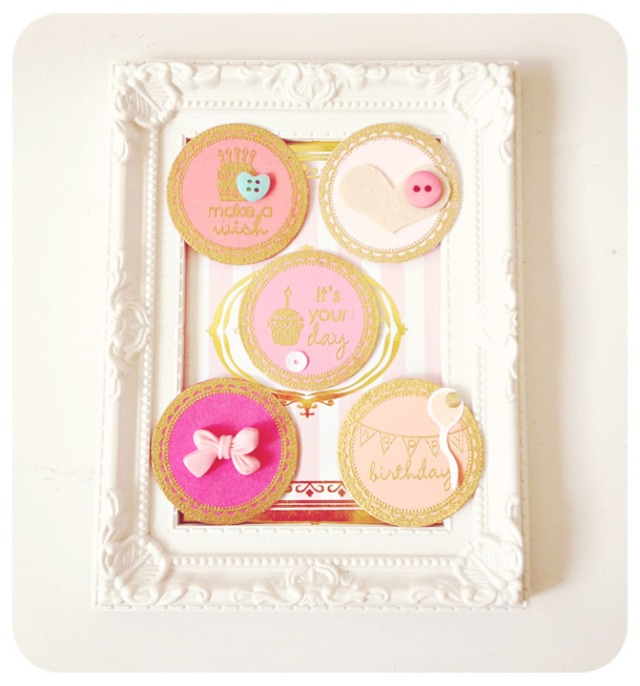 Pink & Gold Birthday Round Tags