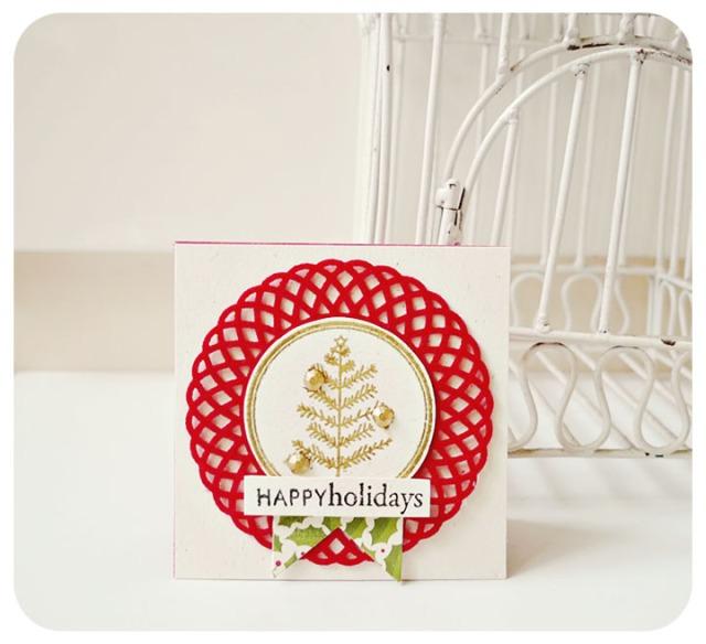 Happy Holiday Mini Doily Card