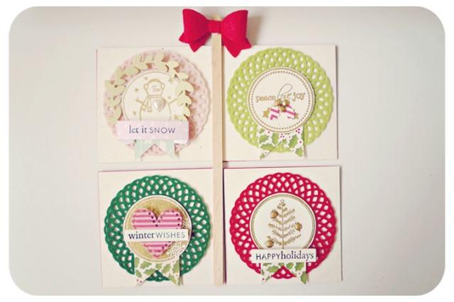 Mini Christmas doily cards