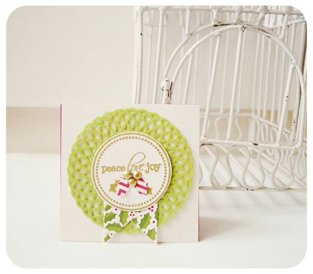 Peace Joy Love Mini doily card