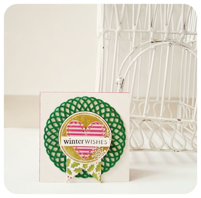 Winter wishes Mini Doily Card