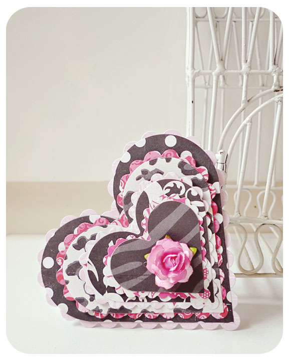 Black with Pink Layered Valentine Day Card