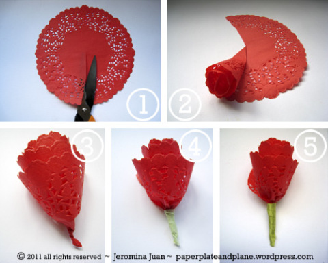 Inspirational monday do it yourself diy flower series diy rose paper rose using doily mightylinksfo
