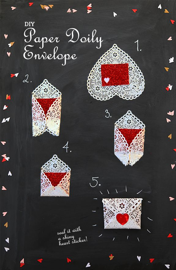 Using heart doily to make into envelope