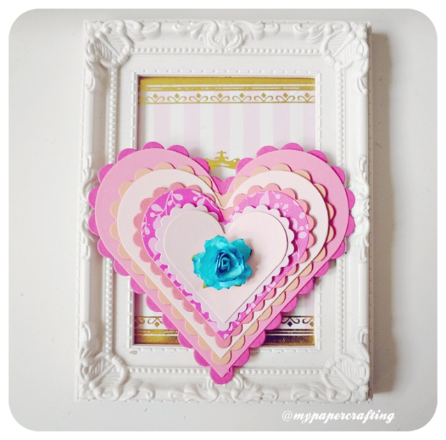 Valentine Day Layered Heartshape Handmade Card