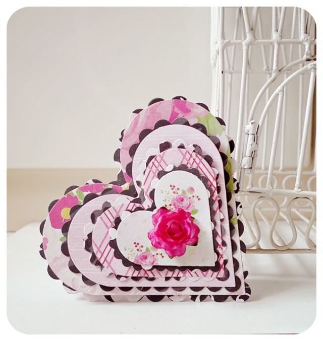 Pink with Black scallop layer Valentine card
