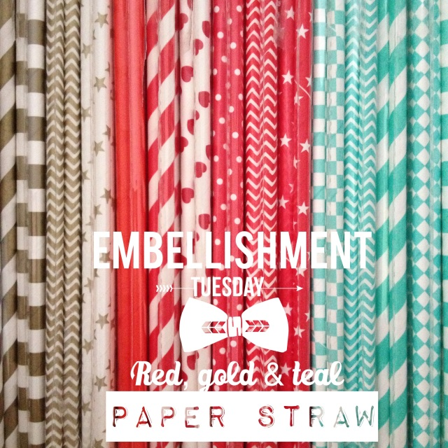 Gold, Red & Teal Paper Straw