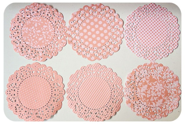 Peach color pattern paper doily