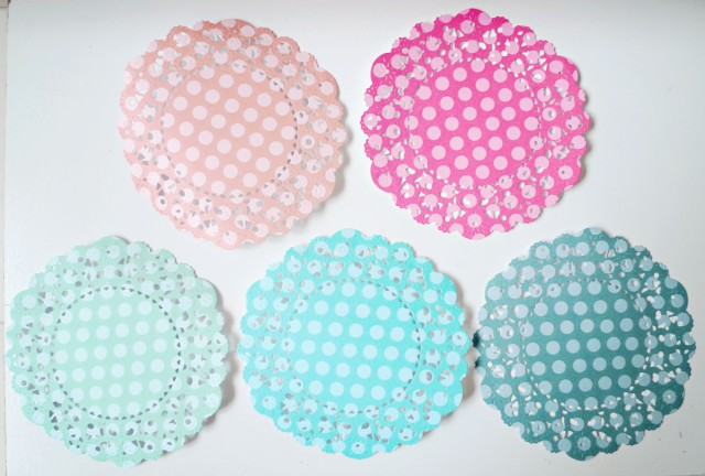 peach, coral, aqua, turquoise and ocean tides paper doilies