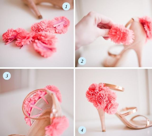 DIY flower shoe clips