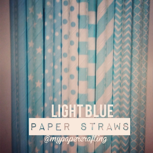 Light Blue Paper  Straws in 8 different designs