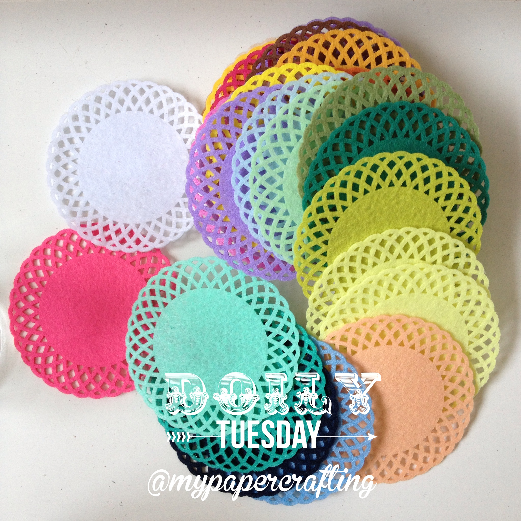 How to make scrapbook decorations - Colorful Felt Doily Design 1