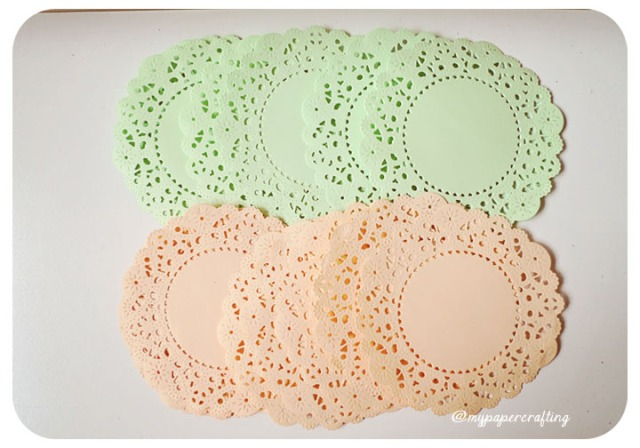 Mint & Peach Color Paper Doily